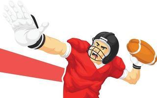 Amerikaans voetbal quarterback speler gooien bal cartoon tekening vector