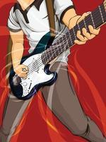 gitarist elektrische gitaar spelen muziek cartoon afbeelding tekenen vector