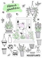 kamerplanten in een modern huis en mensen. oudere vrouw in een groen interieur. set doodles vrouw in een raam met vlinders en bloempotten en bloemen, potten en gereedschappen. hobby's en groen huis vector
