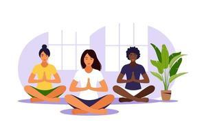 yoga klas. meditatie. groepstraining. vlakke afbeelding. vector. vector