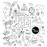 toeristische set. doodle tekeningen van bagage voor reizen op zee in de zomer. eiland, papegaai, dingen, wereldbol, kaart, cocktail, flippers, zon, vliegtuig. vector