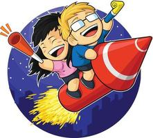 oudejaarsavond viering vuurwerk cartoon vector illustratie tekening