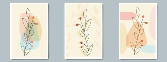 botanische muur kunst vector poster set. minimalistisch contourgebladerte met abstracte eenvoudige vorm.