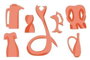 hand tekenen originele aardewerk vaas, aardewerk servies en potten. trendy collage voor decoratie in ecologische stijl.