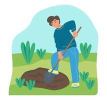 tuinieren op de boerderij. een jonge man werkt aan de tuin, een boer graaft het land. platte cartoon vectorillustratie. vector
