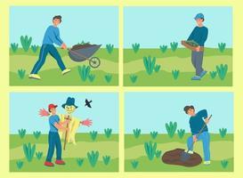 een reeks karakters tuinieren. jonge mensen planten, graven de grond. platte cartoon vectorillustratie. vector