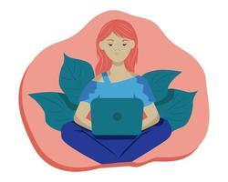 jonge vrouw met een laptop zittend op de vloer vector