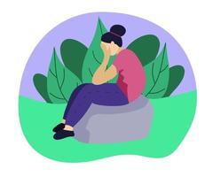 trieste vrouw zittend op een rots vector