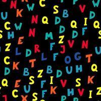 naadloze patroon van veelkleurige letters op zwarte achtergrond