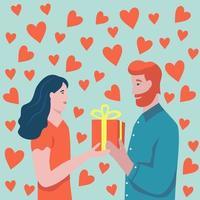 Valentijnsdag kaart met paar vector