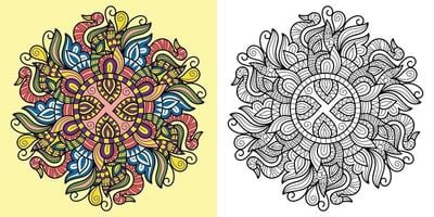 doodle mandala kleurboek pagina voor volwassenen en kinderen. wit en zwart rond decoratief. oosterse antistress-therapiepatronen. abstracte zen wirwar. yoga meditatie vectorillustratie. vector