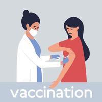 een verpleegster vaccineert een vrouw vector