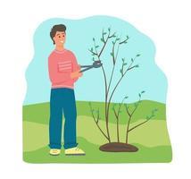 boer die een boom kapt