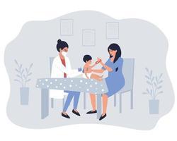 de verpleegkundige geeft het vaccin aan het kind in aanwezigheid van de moeder vector