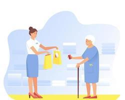 bejaarde vrouw doet aankopen bij de verkoper in de winkel