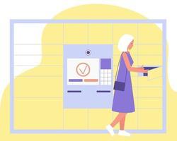 een meisje dat een koper is in een online winkel, haalt haar bestelling op in een automatisch poststation vector