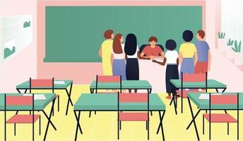 studenten verzamelden zich rond het bureau van de leraar vector