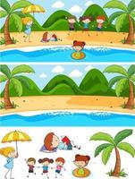 set van verschillende horizontale scènes achtergrond met doodle kinderen geïsoleerd vector