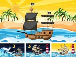 set van oceaan met piratenschip op verschillende tijdstippen scènes in cartoon-stijl vector