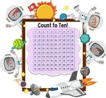 tel nummer 1-100 bord met veel kinderen in astronautenkostuum