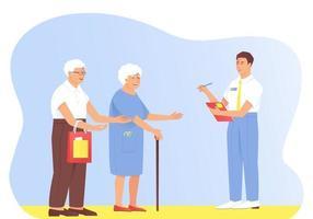 de interviewer stelt vragen aan het oudere echtpaar vector