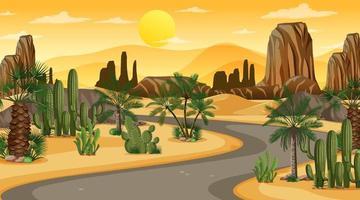 woestijnlandschap bij zonsondergangscène