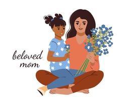 een jonge moeder omhelst haar dochter en houdt een boeket bloemen vast. mooie vrouw met haar kind. vector illustratie