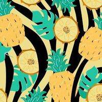 zomerpatroon met gestreepte strepen, monstera en ananas. exotische achtergrond met bladeren en fruitplakken. vector illustratie