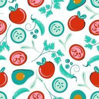 naadloos plantaardig patroon. vegetarische achtergrond met tomaten, komkommers, avocado en groene erwten. platte vectorillustratie