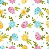 Pasen naadloze patroon met eieren, Lentebloemen en bladeren op een lichte achtergrond. vector illustratie