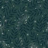 naadloze natuur patroon. donkergroene achtergrond met bladeren en sterren. platte vectorillustratie