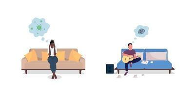 angstige man en vrouw egale kleur vector tekenset
