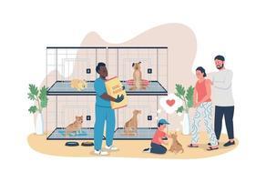 familie adopteert puppy 2d vector webbanner, poster