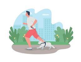man loopt met hond aangelijnd 2d vector webbanner, poster