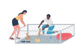 mensen kiezen puppy's egale kleur vector gedetailleerde karakters