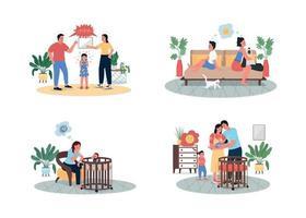 ruzie ouders en kinderen egale kleur vector gedetailleerde tekenset