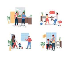 gezin met relatieproblemen egale kleur vector gedetailleerde tekenset