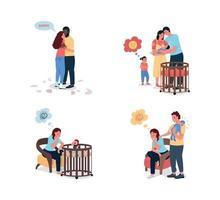 jonge gezinsproblemen egale kleur vector gedetailleerde tekenset