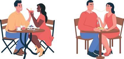 paar tijdens romantisch diner egale kleur vector gedetailleerde tekenset