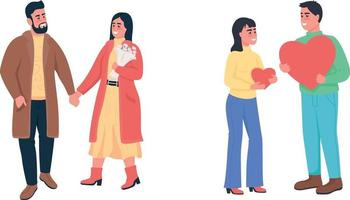 gelukkige paren verliefd egale kleur vector gedetailleerde tekenset
