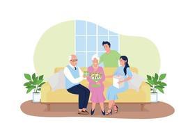 vakantie met het gezin samen 2d vector webbanner, poster
