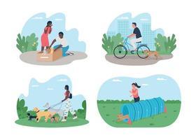 eigenaren die voor huisdieren zorgen 2d vector webbanner, poster set