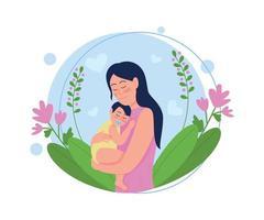jonge moeder met baby platte concept vectorillustratie