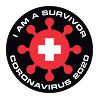 ik ben de overlevende van coronavirus 2020 zwitserland vlag sticker
