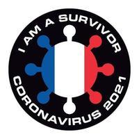 ik ben overlevende coronavirus 2021 frankrijk vlag sticker