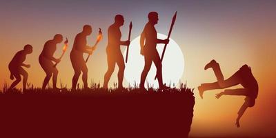 impressie de evolutie van de menselijke soort eindigt in zijn val. vector
