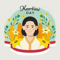 gelukkige kartini-dag omringd door bloemen