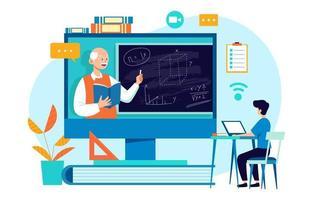 online onderwijs thuisonderwijs vector