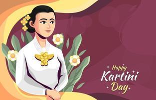 kartini-dagachtergrond met bloemenaccent vector