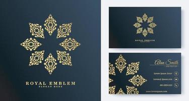luxe visitekaartje met ornamentlogo vector